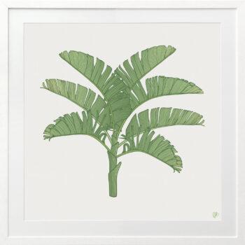 Tropical Plantation Green Artwork 1 - WHITE FRAME