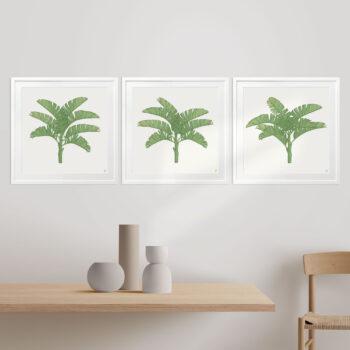 Tropical Plantation Green Artwork - WHITE FRAMES