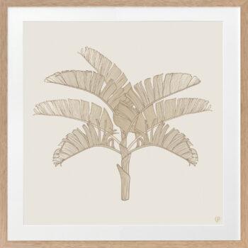 Tropical Plantation Tan Artwork 2 - OAK FRAME