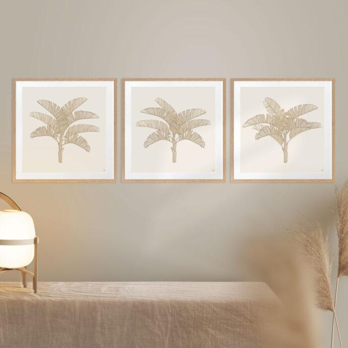 Tropical Plantation Tan Artwork - OAK FRAMES