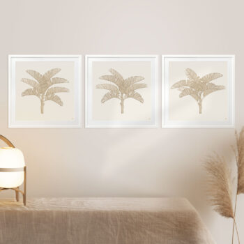 Tropical Plantation Tan Artwork - WHITE FRAMES