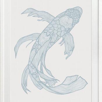 Lucky Fish Kei Water - WHITE FRAME