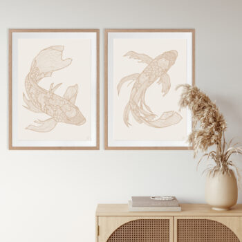 Lucky Fish Koi & Kei Light - OAK FRAME