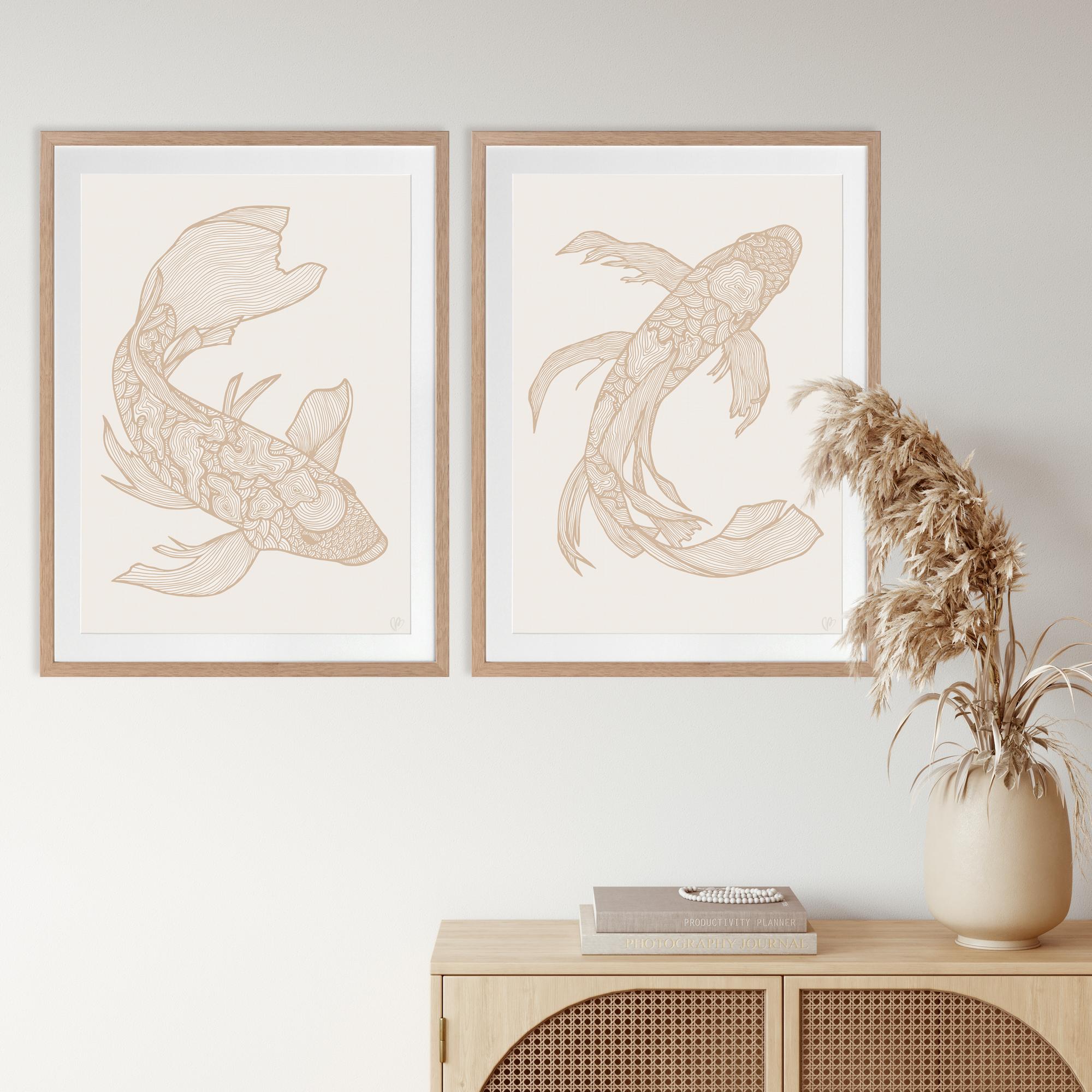 Lucky Fish Koi & Kei Light - OAK FRAME