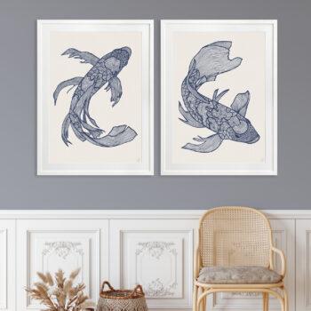 Lucky Fish Koi & Kei Ocean - WHITE FRAME