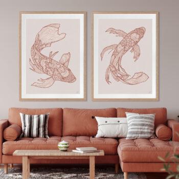 Lucky Fish Koi & Kei Rust - OAK FRAME