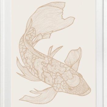 Lucky Fish Koi Light - WHITE FRAME