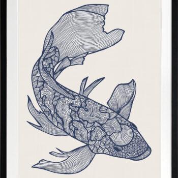 Lucky Fish Koi Ocean - BLACK FRAME