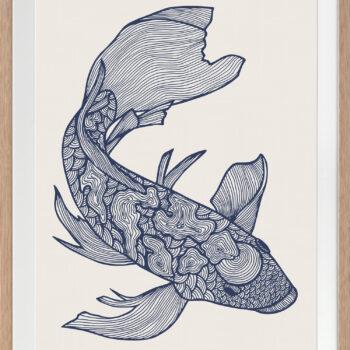 Lucky Fish Koi Ocean - OAK FRAME
