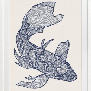 Lucky Fish Koi Ocean - WHITE FRAME