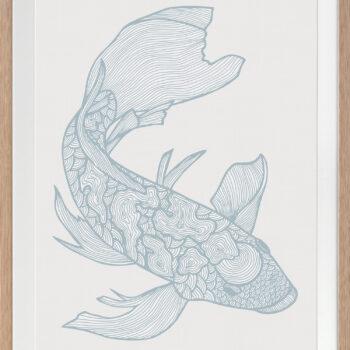 Lucky Fish Koi Water - OAK FRAME