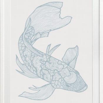 Lucky Fish Koi Water - WHITE FRAME