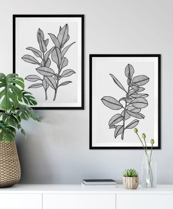 Rubbery Leaf 1 & 2 Black - BLACK FRAMES mock-up