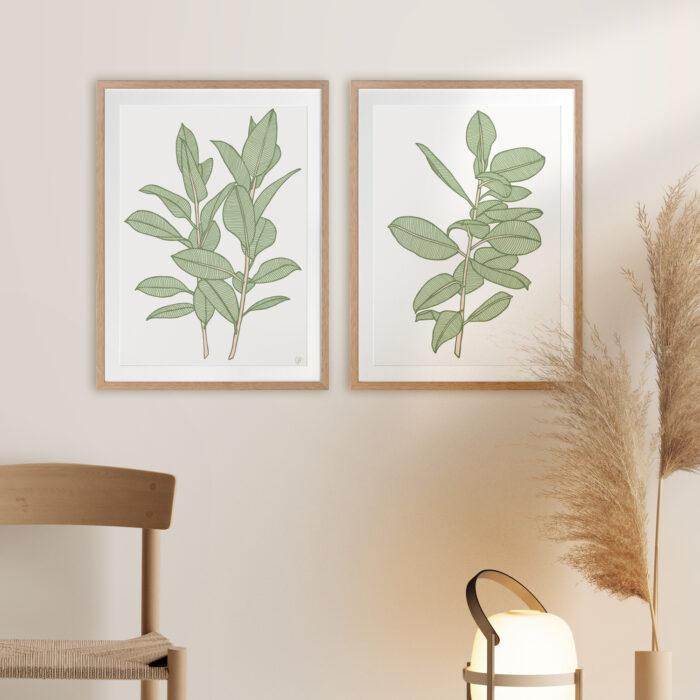 Rubbery Leaf 1 & 2 Green - OAK FRAMES mock-up