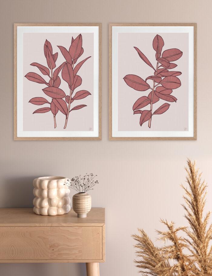 Rubbery Leaf 1 & 2 Red - OAK FRAMES