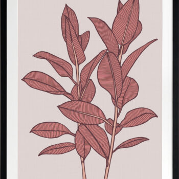 Rubbery Leaf 1 Red - BLACK FRAMES