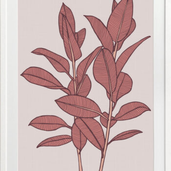 Rubbery Leaf 1 Red - WHITE FRAMES