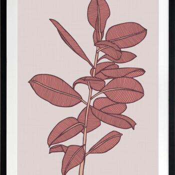 Rubbery Leaf 2 Red - BLACK FRAMES