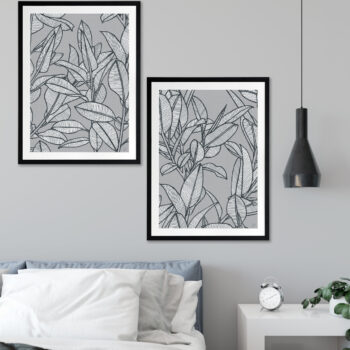 Rubbery Leaf Design 1 & 2 Grey - BLACK FRAMES mock-up