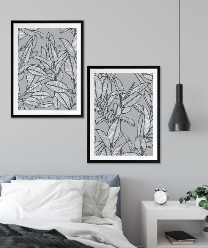 Rubbery Leaf Design 1 & 2 Grey - BLACK FRAMES mock-up