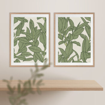 Rubbery Leaf Design 1 & 2 Oasis - OAK FRAMES
