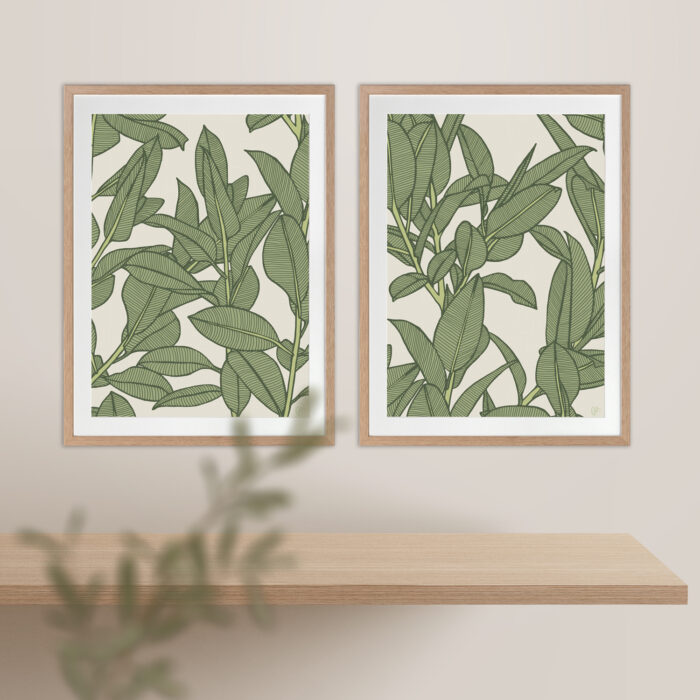 Rubbery Leaf Design 1 & 2 Oasis - OAK FRAMES