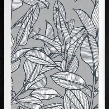 Rubbery Leaf Design 1 Grey - BLACK FRAMES