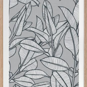 Rubbery Leaf Design 1 Grey - OAK FRAMES