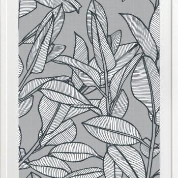 Rubbery Leaf Design 1 Grey - WHITE FRAMES