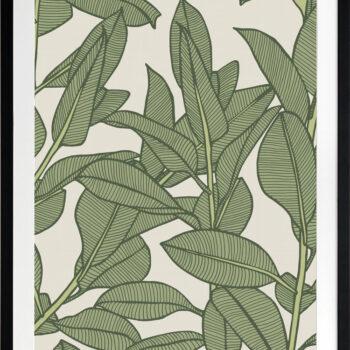 Rubbery Leaf Design 1 Oasis - BLACK FRAMES