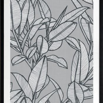 Rubbery Leaf Design 2 Grey - BLACK FRAMES