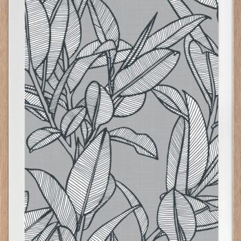 Rubbery Leaf Design 2 Grey - OAK FRAMES