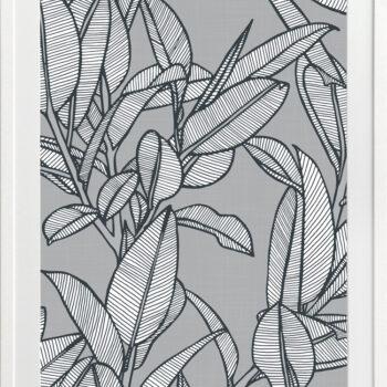 Rubbery Leaf Design 2 Grey - WHITE FRAMES