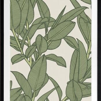 Rubbery Leaf Design 2 Oasis - BLACK FRAMES