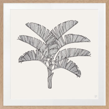 Tropical Plantation Black Artwork 1 - OAK FRAME
