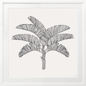 Tropical Plantation Black Artwork 2 - WHITE FRAME