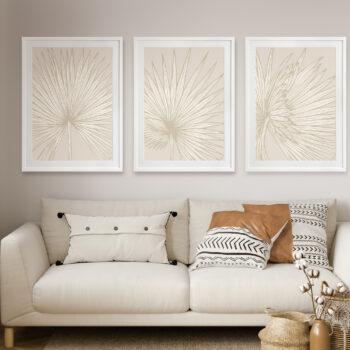 Nobilis-Palm-1-2-3-Sand - WHITE FRAMES