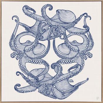 Octopi Tangle - Navy - Framed Canvas Warm Timber Frame