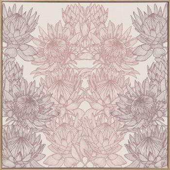 Regal Protea - Dusk - Framed Canvas Warm Timber Frame