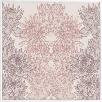 Regal Protea - Dusk - Framed Canvas White Frame