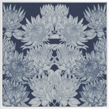 Regal Protea - Night - Framed Canvas White Frame