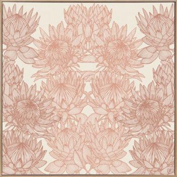 Regal Protea - Sunshine - Framed Canvas Warm Timber Frame