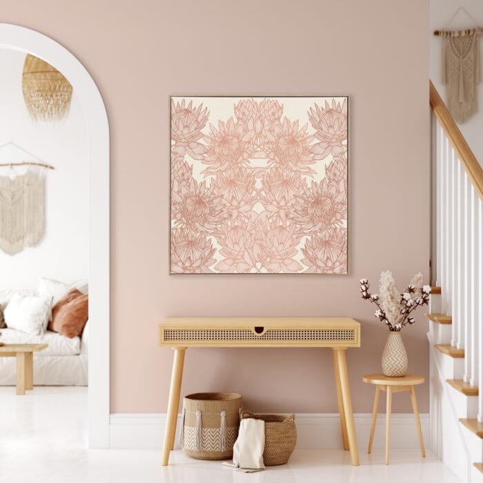Regal Protea - Sunshine - Framed Canvas Warm Timber Frame Mock-up