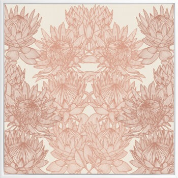 Regal Protea - Sunshine - Framed Canvas White Frame