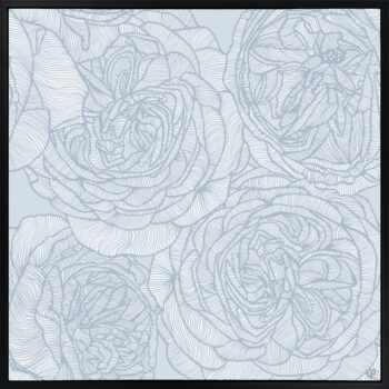 Rose Will - Blues - Framed Canvas Black Frame