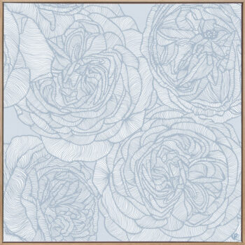 Rose Will - Blues - Framed Canvas Warm Timber Frame