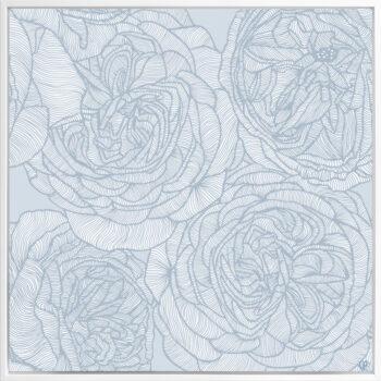 Rose Will - Blues - Framed Canvas White Frame