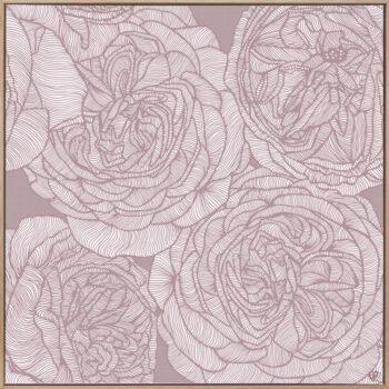 Rose Will - Dusk - Framed Canvas Warm Timber Frame