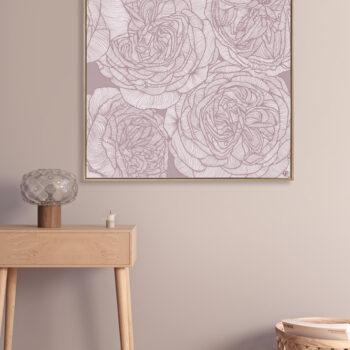 Rose Will - Dusk - Framed Canvas Warm Timber Frame Mock-up