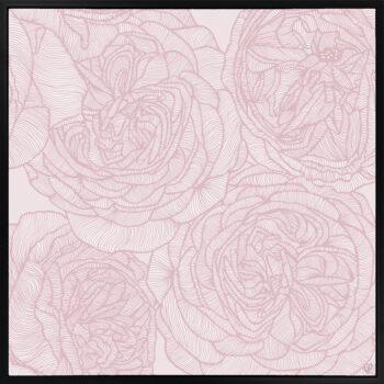 Rose Will - Soft - Framed Canvas Black Frame